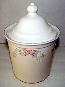 Wyndham-Pfaltzgraff-Tea-Canister-Coffee-Floral-Gray-Pink-Stoneware-Storage-Lid