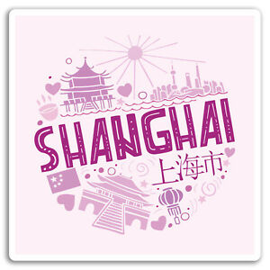 2-x-10cm-Shanghai-China-Vinyl-Stickers-Pink-City-Sticker-Laptop-Luggage-17093