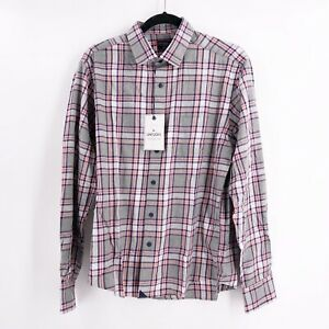 Untuckit-Men-039-s-Size-Medium-Rousseau-Long-Sleeve-Flannel-Plaid-Shirt-Regular-Fit
