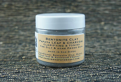 BENTONITE CLAY CHARCOAL PAPAYA FACE MASK FOR OILY SKIN DEEP SET ACNE BLACK HEADS