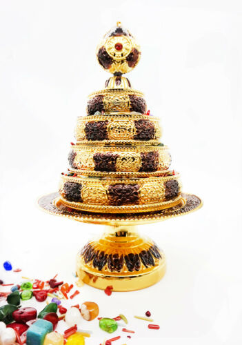 Tibet Tibetan Buddhism Altar Mandala Manza Set Tray Gilded Buddhist Offering-M