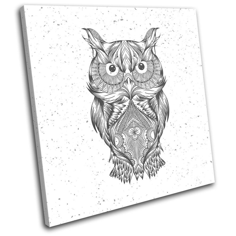 Aztec Owl Animals SINGLE TOILE murale ART Photo Print
