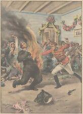 K0065 Copenaghen - Ballo in maschera - Uomo prende fuoco - Stampa - 1930 print