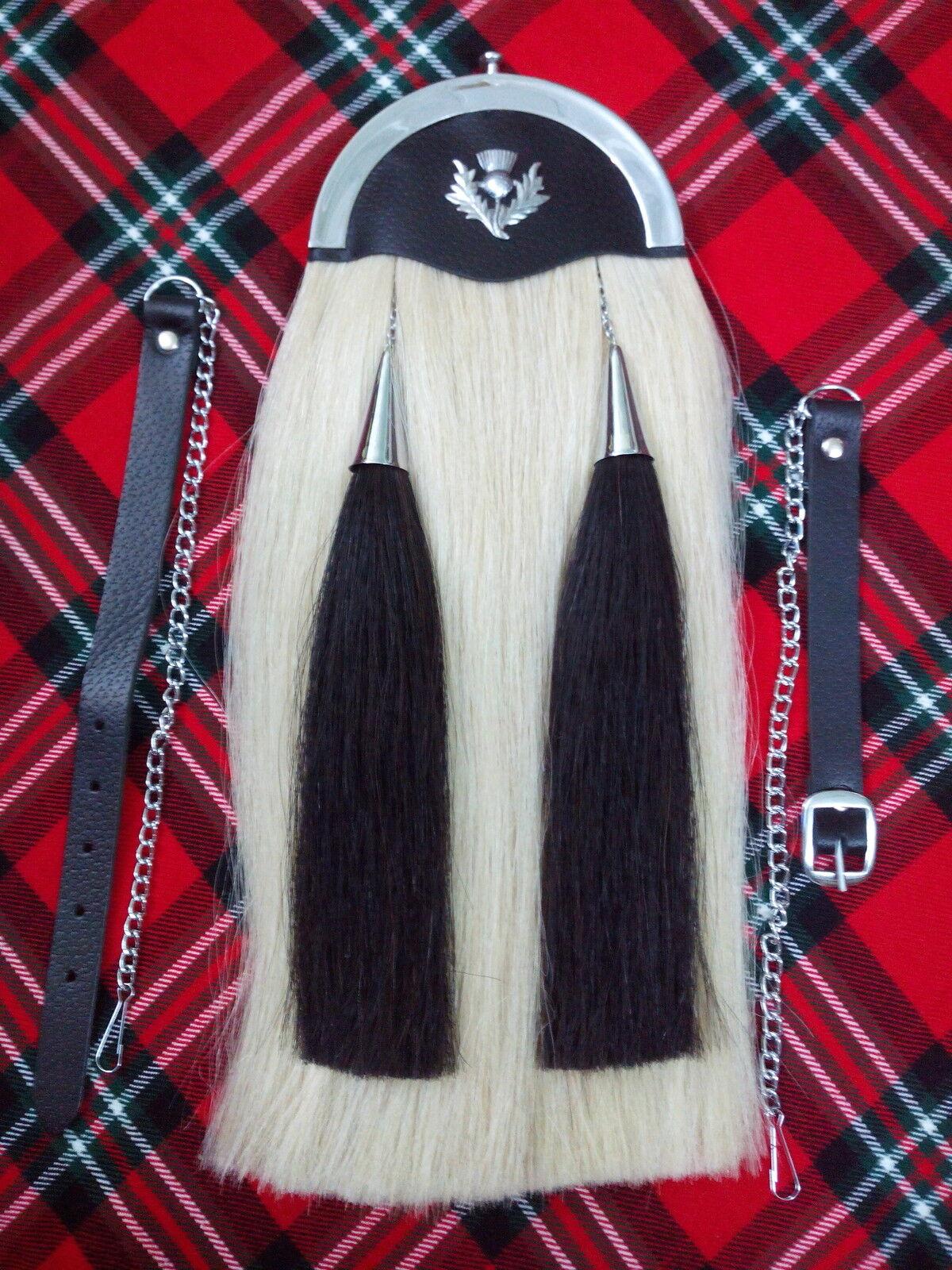 TC nuevo pelo de caballo Sporran Original + + + Llano Cantle Kilt Sporran blancoo Pelo de Caballo  hasta un 50% de descuento