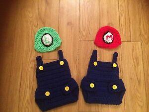 Baby Super mario and luigi Crochet Knit Costume