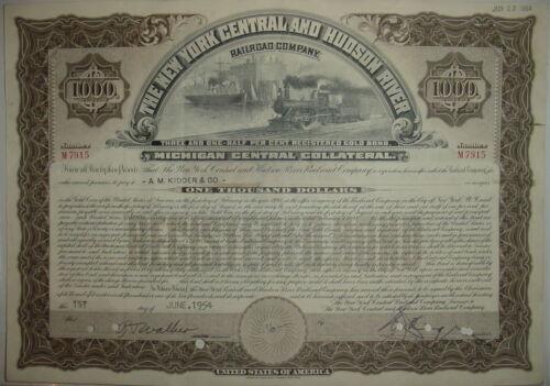 New York Central /& Hudson River Railroad Bond Stock Certificate Michigan