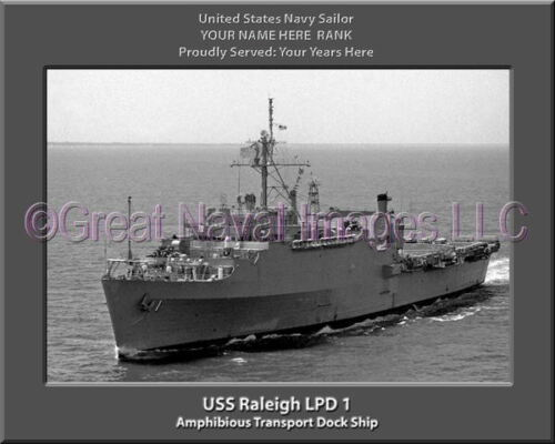USS Raleigh LPD 1 Personalized Canvas Ship Photo Print Navy Veteran Gift
