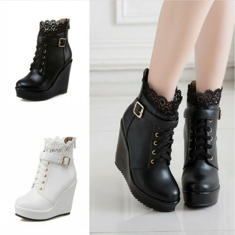 Goth Ladies Buckle Strap Lace Ups Wedge High Heel Platform Ankle Boots 41 42 43