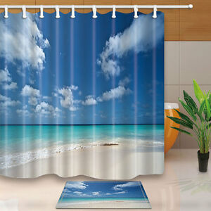 Beautiful-tropical-beach-Shower-Curtain-Bedroom-Waterproof-Fabric-amp-12Hooks-new