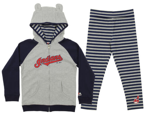Majestic MLB Little Girls Cleveland Indians Great Catch Hoodie and Pant Set
