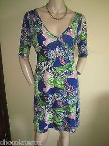 Fat-Face-Blue-amp-Green-V-Neck-Butterfly-Print-3-4-Sleeve-Viscose-Dress-Size-12