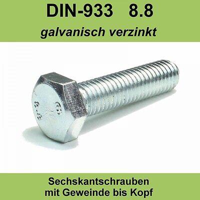 M6 DIN 933 4.8 Sechskantschrauben verzinkte Maschinenschraube Gewindeschrauben Vollgewinde 100mm 100 St/ück