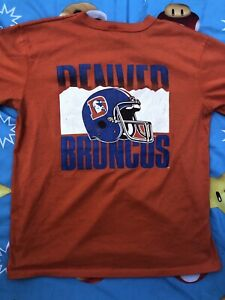 Mens Vintage 80s Garan USA Denver Broncos Orange Crush Graphic T Shirt Tee Sz L