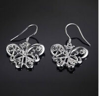925 STERLING SILVER BUTTERFLY DROP DANGLE EARRINGS