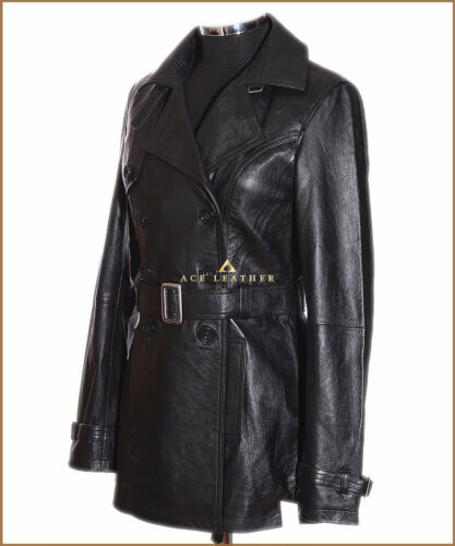 1123 Paris Black Ladies Real Soft Lambskin Leather Trench Coat Jacket