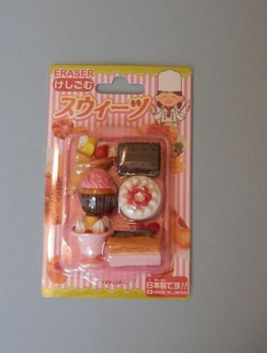 NIP Look! Genuine HAPA Erasers Pack of 6 With Tray DELICIOUS FOOD /& DESSERTS