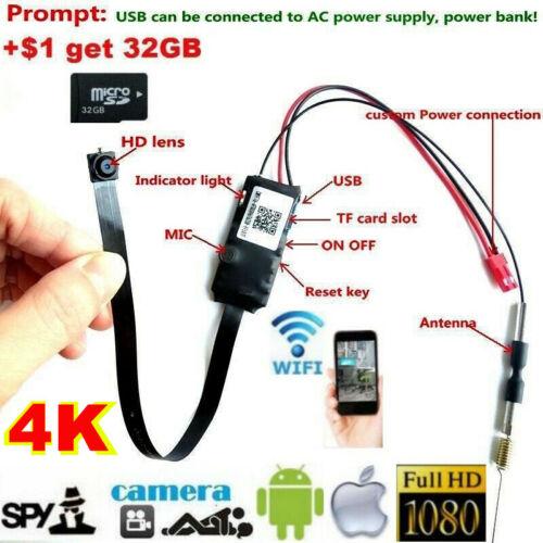 4K HD 1080P WiFi Wireless Camera Pinhole Hidden Spy Camera Network Recorder DVR