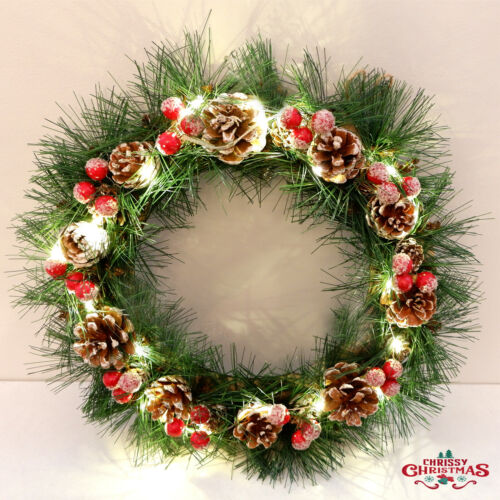 Christmas Wreath Lights Decorated Front Door Hanging Garland Home Decor 35cm