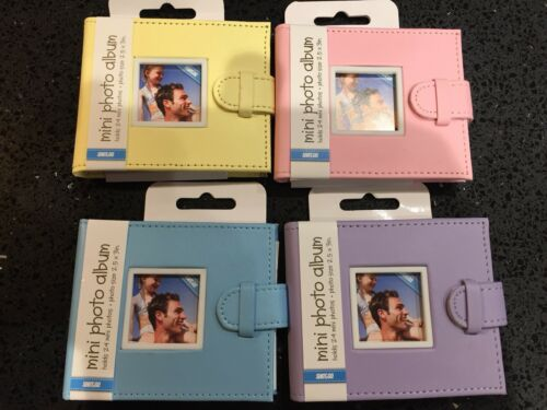 "BRAND NEW Mini Photo Album 24 Photos 2.5/"" x 3/"" Gift  Baby Pink Blue Yellow"