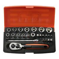 "Bacho Tools SL25 Socket Set 25 Pc 1/4"" Drive Ratchet & Case Bahco"