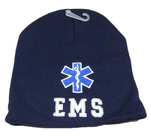 """Blue Premium WIN998 8/"""" EMS Emergency Embroidered Beanie Skull Cap Hat TOPW"""
