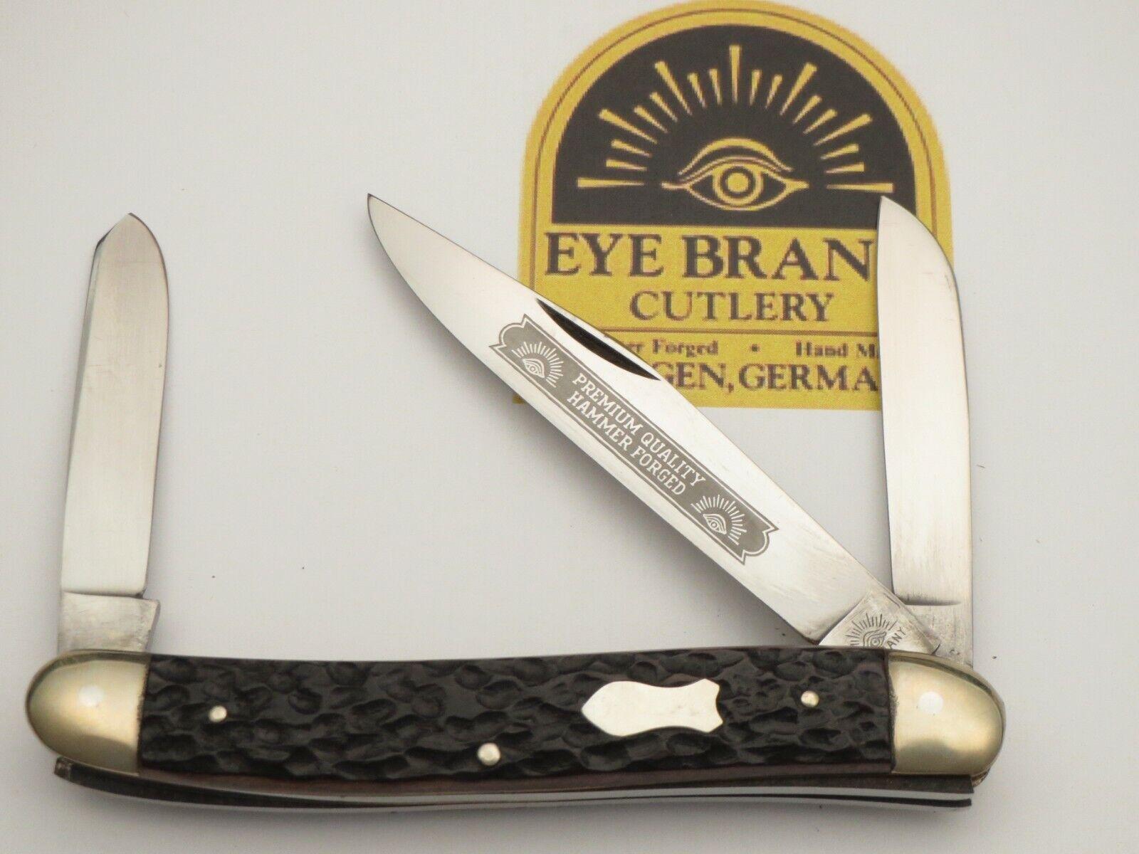 "Vintage EYE BRAND Three-Eye Jumbo 4-3/4"" Premium Stock Knife Nice Bone MINT"
