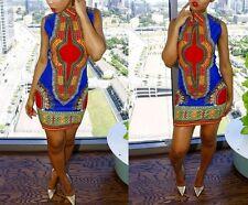 Vintage High Collar African Bohemia Print Dashiki Bodycon Party Mini XL Dress A