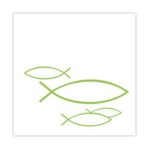 Details Zu 20 Cocktail Servietten Fische Weiß Grün Kommunion Taufe Konfirmation Tischdeko
