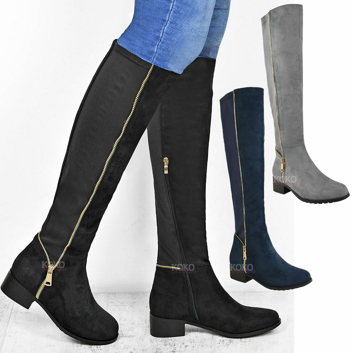 Womens Ladies Over the Knee Boots Stretchy Gold Zip Flat Low Heel Riding Shoes