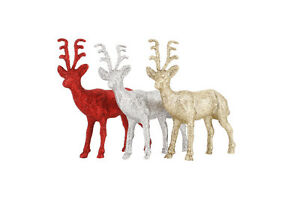 Red-Silver-or-Gold-pack-of-2-Glitter-Reindeers-Christmas-Decoration