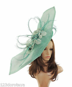 Image is loading Extra-Large-Mint-Green-Fascinator-for-Ascot-Weddings- d3061fea259