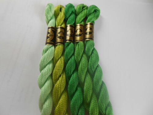 5 DMC Perle 5 Cotton 5g Skeins Greens colour numbers may vary