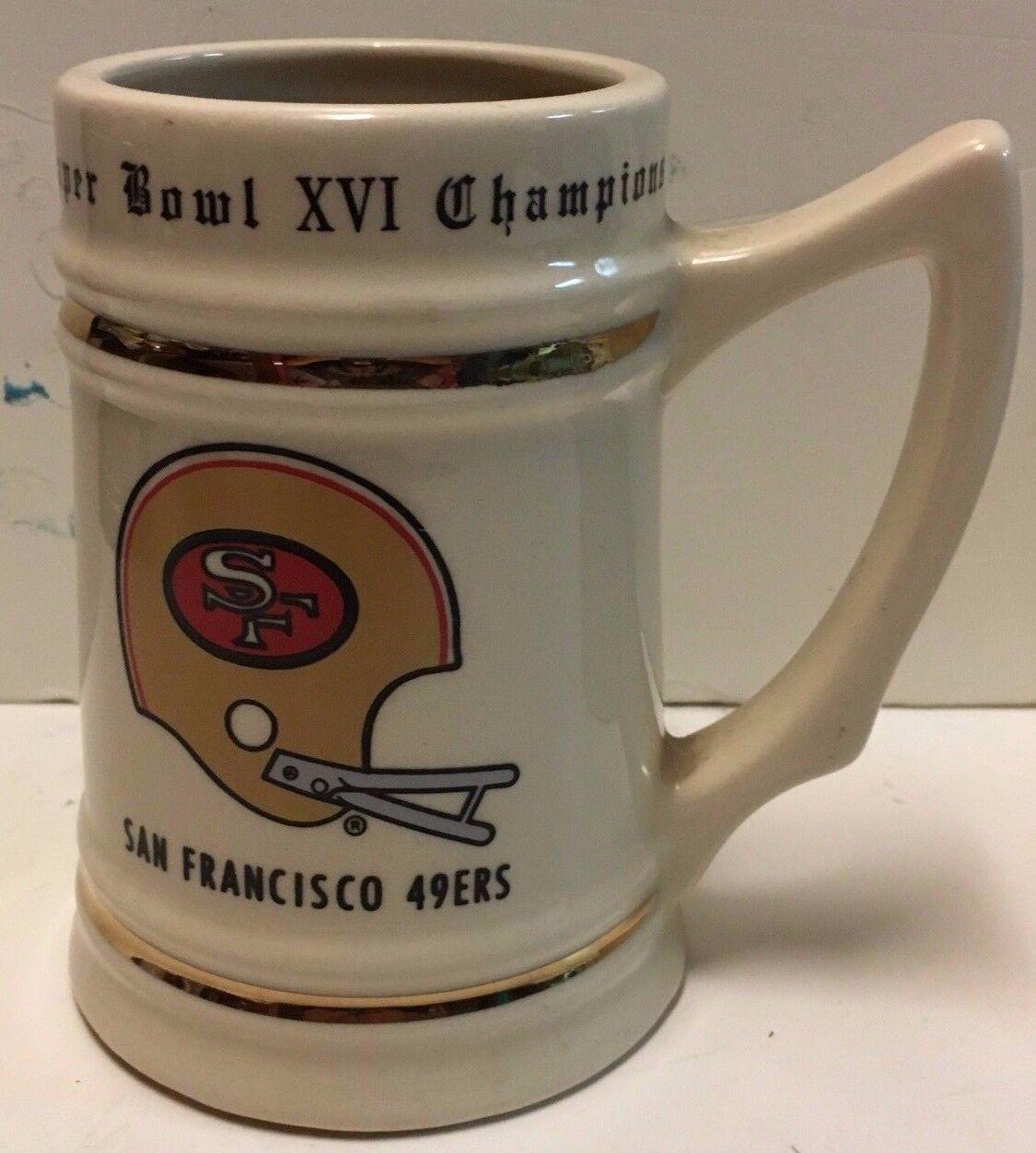 San Francisco 49ers Superbowl XVI Champions Stein Becher Krug NFL