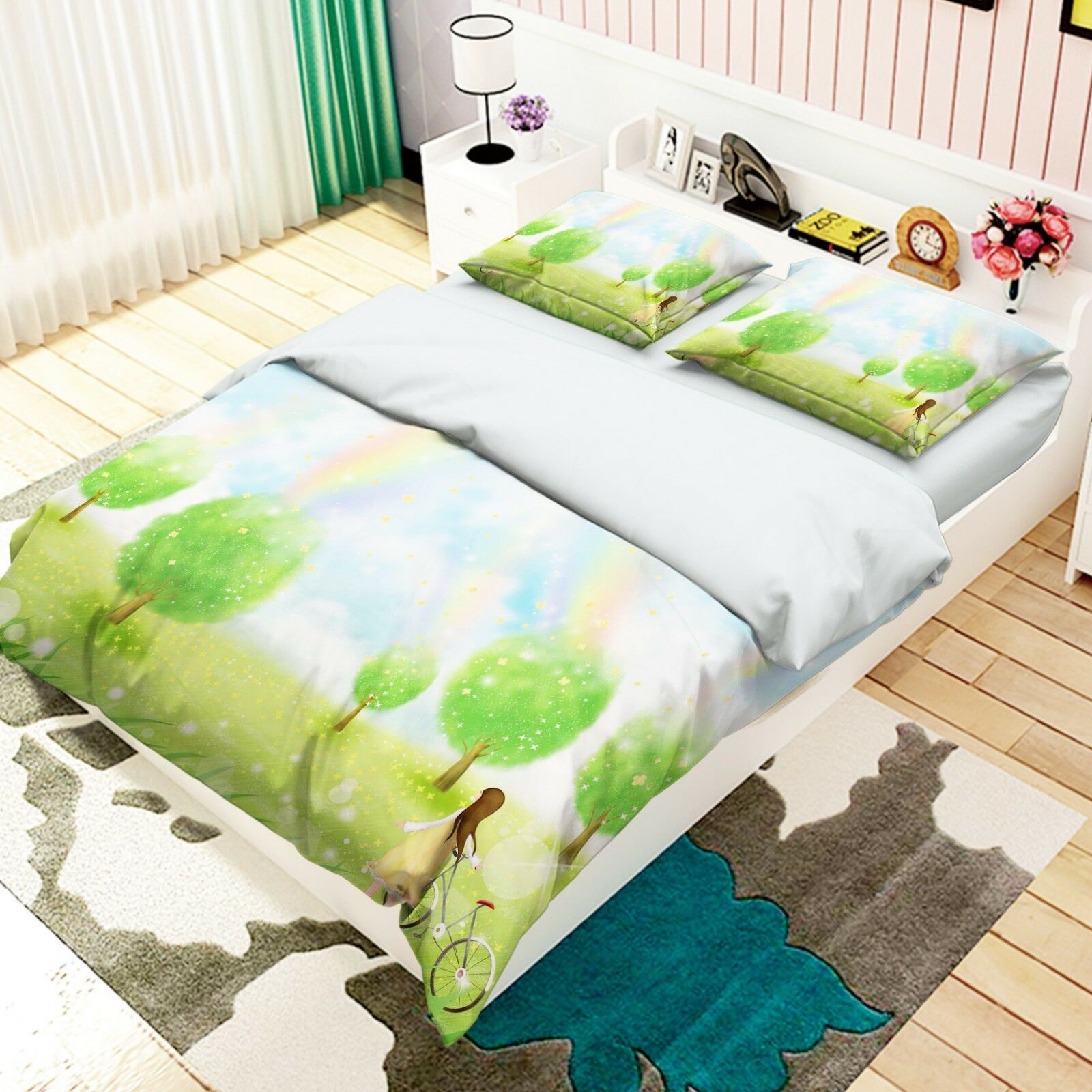 3D Grass Grove Girl5 Bed Pillowcases Quilt Duvet Cover Set Single Queen AU Carly