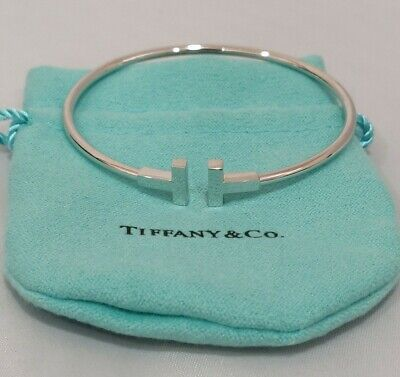 Tiffany Co T Wire Bracelet White Gold Ebay