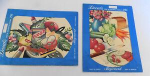 Vintage-Meyercord-Decals-Kitchen-Theme-Veggies-Flour-Set-of-Two