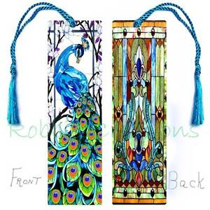 Peacock STAINED GLASS Style LARGE BOOKMARK w/Tassel ART-Card Book Mark ORNAMENT