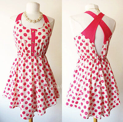 NEW Pink/Nude Vtg Polka Dots Retro Criss Cross Cutout Back Flared Skater Dress