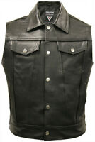Mens Cut Off Motorcycle Waistcoat Cowhide Real Leather Black Biker Vest Jacket