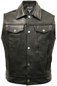 Vests Mens Cut Off Motorcycle Waistcoat Cowhide Leather Black Biker Vest Jacket
