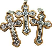 Mrt Lot Of 3 Wood & Silver Plate Inlay Pectoral Crucifix Pendant Cross 2 Italy