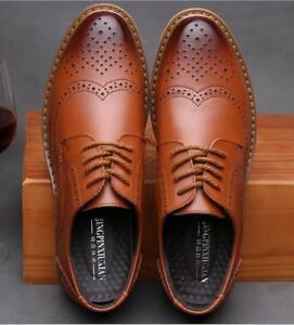 New Fashion Maat gesneden Brogues herenkleding Vintage Retro ademend Hot schoenen yvN8m0wnO