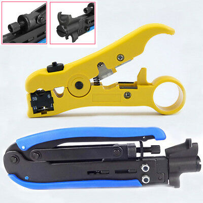 2Pcs RG6 RG59 RG11 Coax Coaxial Cable Crimper + Stripper Compression Tool Set
