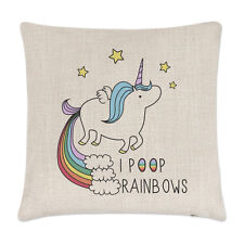 Unicorn I Poop Rainbows Linen Cushion Cover - Pillow Magical Animal Poo Funny