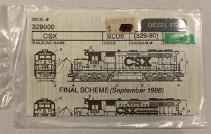WALTHERS N SCALE DECAL - CSX HOOD DIESEL - Circa 1986 - Item #938-339900