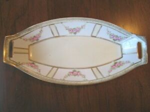 "Antique Nippon Porcelain Hand Painted 14"" Oval Serving Bowl w/Square Handles"
