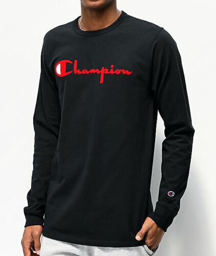Details about  /Champion Flock Script Red /& Black Longsleeve t-shirt *Tee Unisex *