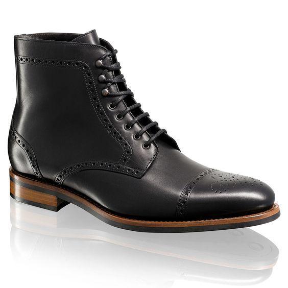 buon prezzo Handmade Uomo Cap Cap Cap toe ankle stivali, Uomo nero lace up stivali Uomo nero leather avvio  in vendita scontato del 70%
