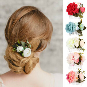 LC  donna fiori da sposa PETTINE FERMAGLI per capelli accessori ... 510c7d27fd1d