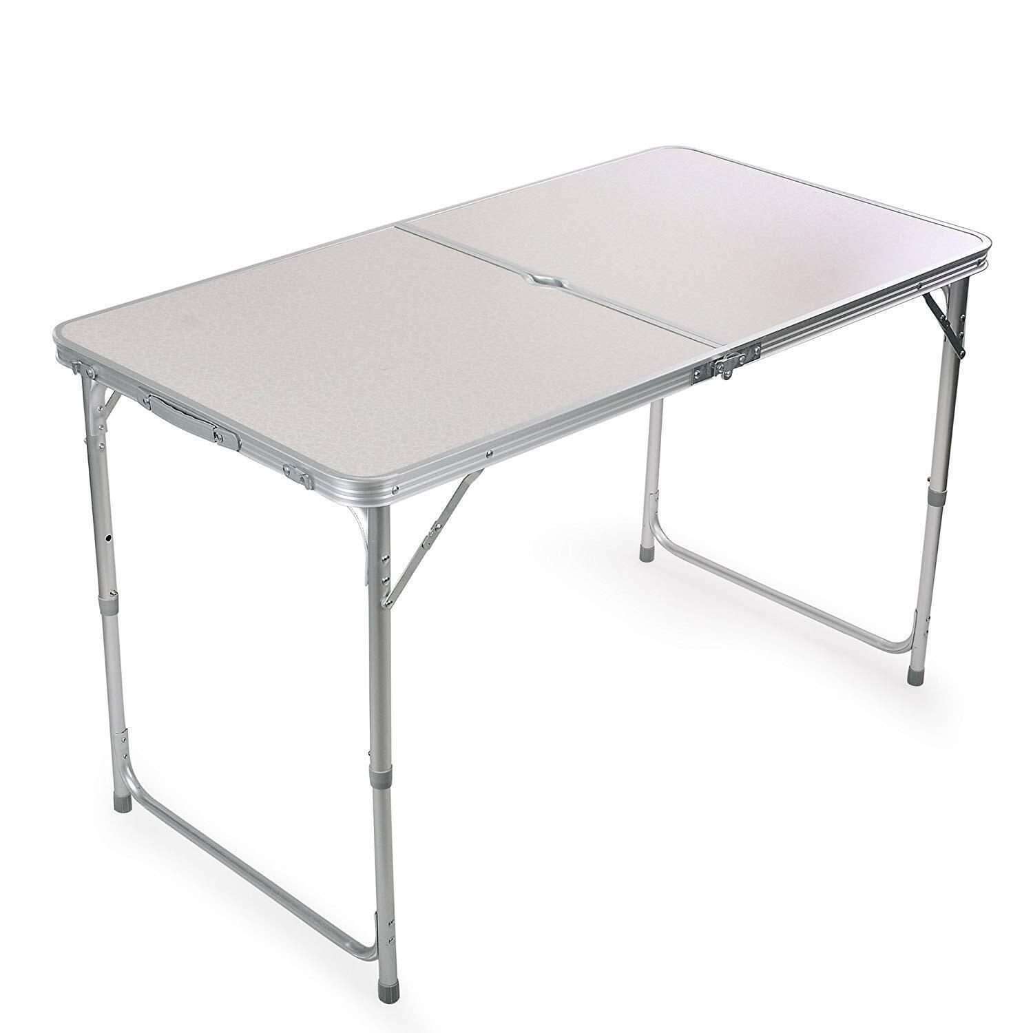 Folding Metal Table Portable Adjustable Height Camping Outdoor BBQ Yard Cooking